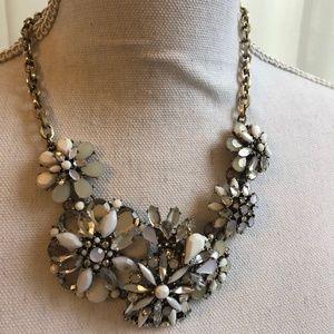LOFT Floral Gemstone Statement Bib Necklace EUC